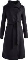 Cole Haan Black Tie-Waist Wool-Blend Trench Coat