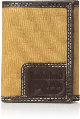 Timberland Men's Canvas Leather RFID Trifold Wallet with Zippered Pocket