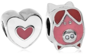 Rhona Sutton 4 Kids Children's Enamel Piglet Heart Bead Charms - Set of 2 in Sterling Silver