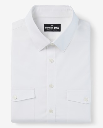 Express Slim Solid Double Pocket Stretch Cotton 1Mx Dress Shirt