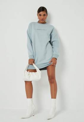 Missguided Blue Fleece New Season Graphic Oversized Dress