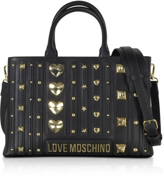 Love Moschino Black Eco- Leather Studded Tote Bag