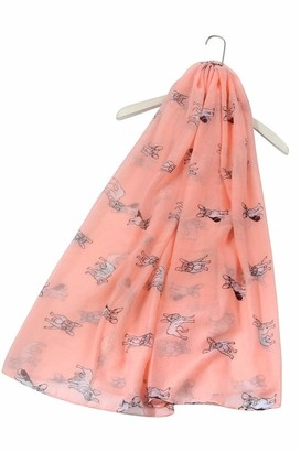 FUREVER GIFTS New French Bulldog Puppy Dog Print Womens Scarf Shawl Lightweight Pink Adorable Gift