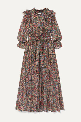 DÔEN Esme Ruffled Floral-print Cotton-voile Maxi Dress - Black