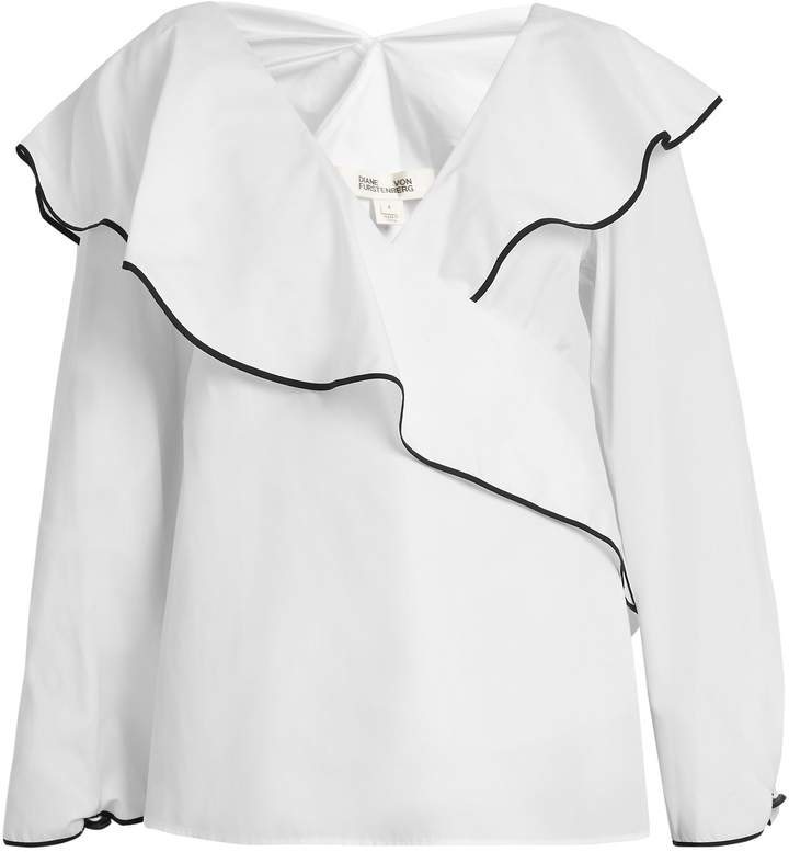 Diane von Furstenberg Fluted-lapel wrap cotton blouse