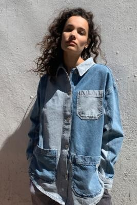 BDG Patchwork Shirt Jacket - Blue XS at Urban Outfitters
