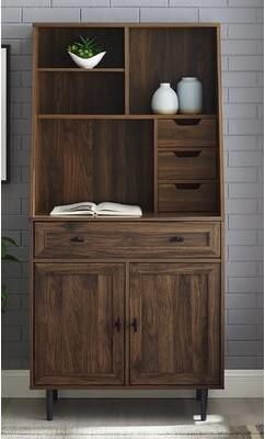 Gracie Oaks Fairlin 4 Drawer Storage Cabinet Finish/Color: Dark Walnut