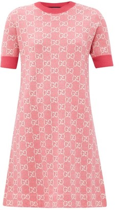 Gucci GG-jacquard Wool-blend Mini Dress - Pink White