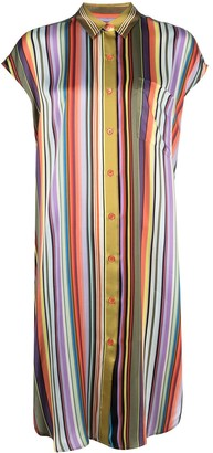 Paul Smith Satin-Style Vertical Stripe Shirt Dress