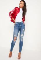Missguided Blue High Waisted Rip & Repair Jeans