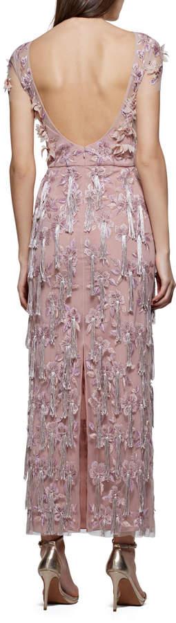 David Meister Cap-Sleeve 3-D Floral & Tassels Embroidered Long Formal Dress