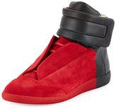 Maison Margiela Future Colorblock High-Top Sneaker, Red/Black