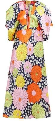 Dodo Bar Or Bernadette Floral-print Silk-jacquard Midi Dress - Womens - Navy Multi