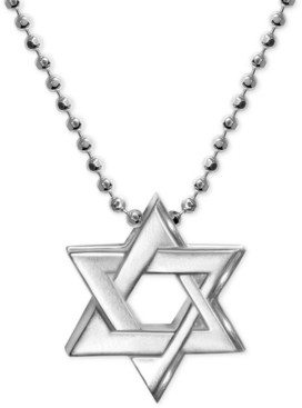 Alex Woo Star of David Beaded Pendant Necklace in Sterling Silver