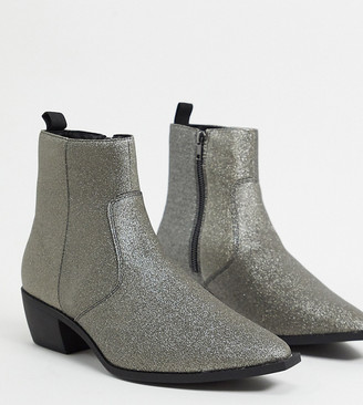 ASOS DESIGN Wide Fit stacked heel western chelsea boots in silver glitter