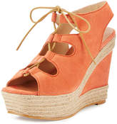 Andre Assous Gilly Lace-Up Suede Wedge Sandal, Coral