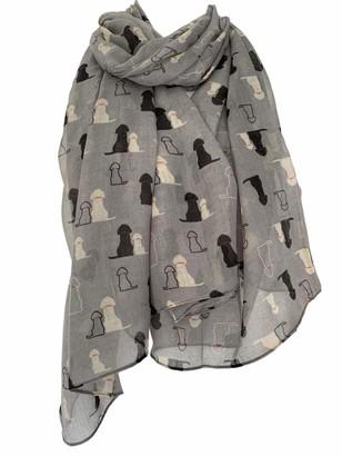 Purple Possum Golden Retriever Scarf Ladies Black Labrador Print Wrap Large Grey Shawl