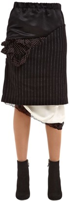 Facetasm Patchwork Satin & Pinstripe Wool Skirt