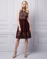 Le Château Embellished Lace & Chiffon Halter Dress