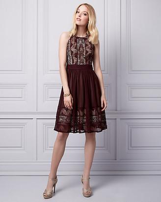 Le Château Embellished Lace & Chiffon Halter Dress