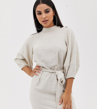 ASOS DESIGN Petite linen mini dress with tie belt
