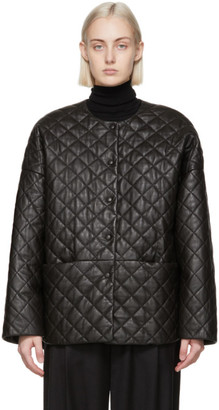 Totême Black Leather Quilted Jacket