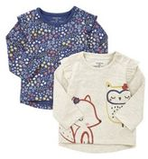 F&F 2 Pack of Woodland Print Long Sleeve T-Shirts, Newborn Girl's