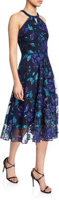 Marchesa Floral-Printed Laser-Cut Halter Dress with Leaf-Embroidery
