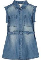 River Island Mini girls blue wash belted denim dress