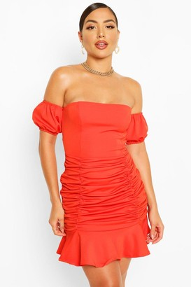 boohoo Off The Shoulder Rouched Frill Hem Mini Dress