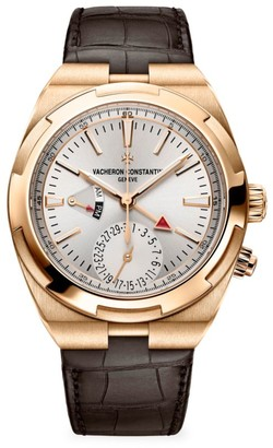 Vacheron Constantin Overseas 18K 5N Rose Gold & Alligator Strap Dual-Time Chronograph Watch