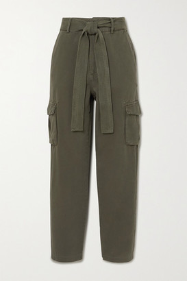Anine Bing Kennedy Belted Cotton-twill Tapered Pants - Green