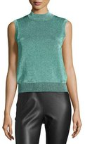 M Missoni Sleeveless Metallic Mock Turtleneck Top, Aqua