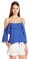 Nicole Miller Women's Poly Crepe Off-the-Shoulder Blouse