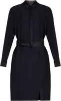 Versace Satin-trimmed crepe shirt dress