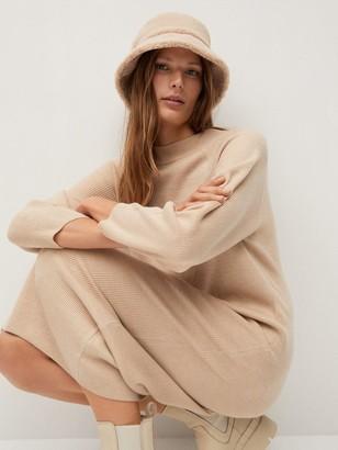 MANGO Jersey Midi Dress - Beige