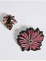 M&S Collection 2 Pack Jewelled Bee Brooches