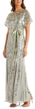 R & M Richards Petite Allover-Sequin Gown