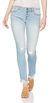 Miss Me Women's Mid Rise Front Button Skinny Denim Jean with Fray Detail