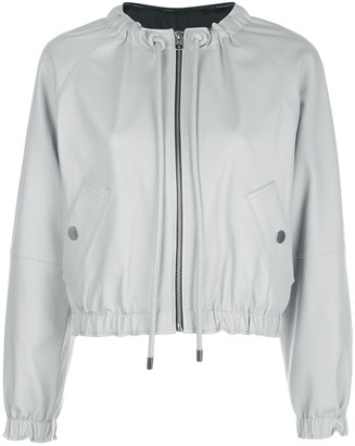 Proenza Schouler White Label Drawstring Neck Leather Jacket