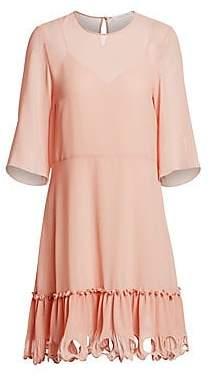 See by Chloe Women's Georgette Three-Quarter Sleeve A-Line Dress
