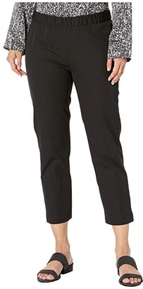 Eileen Fisher Petite Mid-Rise Ankle Pants with Slits (Black) Women's Casual Pants