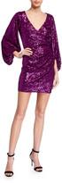 One33 Social Sequin V-Neck Voluminous-Sleeve Mini Dress