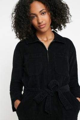 Urban Outfitters Rosalie Corduroy Boilersuit - black XS at