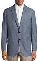 Brioni Plaid Long Sleeve Wool Blazer