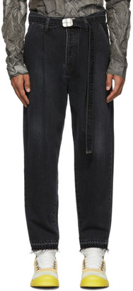Doublet Black Cashmere Wide Tapered Jeans