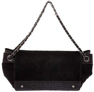 Chanel Dark Brown Calfhair and Leather Accordion Flap Bag