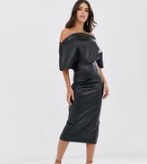 Asos Tall DESIGN Tall PU drape shoulder midi pencil dress