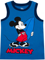 Children's Apparel Network Boys' Tank Tops BLUE - Blue Mickey Mouse Surfer Tank - Boys