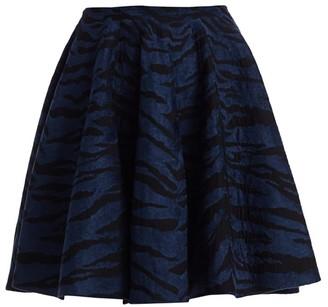 Alaia Zebra-Print Stretch-Wool A-Line Skirt
